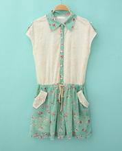 2014 Desigual Dresses Vestidos Summer Plus Size Mm Women's Fancy Chiffon Embroidered Pocket Lacing Sleeveless One-piece Dress(China (Mainland))