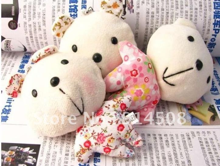 Free shipping Cell phone straps New floral Bear Plush mobile phone pendants wholesale X884(China (Mainland))