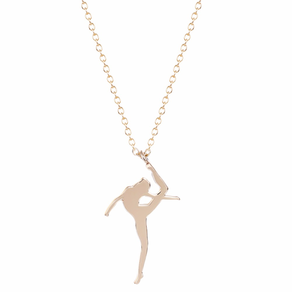 30Pcs Gold Silver Plated Dance Girl Necklaces Ballet Dance Necklace Women Jewelry Girl Swing Necklace(China (Mainland))