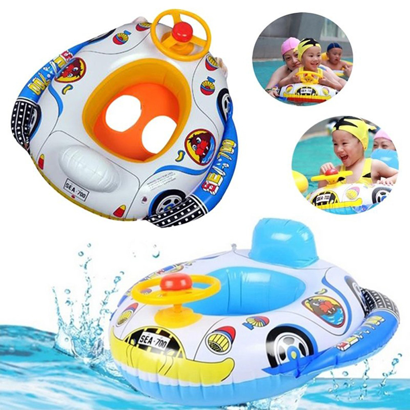 Hot 1 Pc Baby Cartoon Car Pattern Swimming Pool Kids Fun Water Sports Game Children Safe Inflatable Float Boat Toys Gift 2016(China (Mainland))