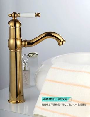 Continental retro art luxury classic antique gilded taps all copper & gold bathroom basin faucet hot & cold water tap(China (Mainland))