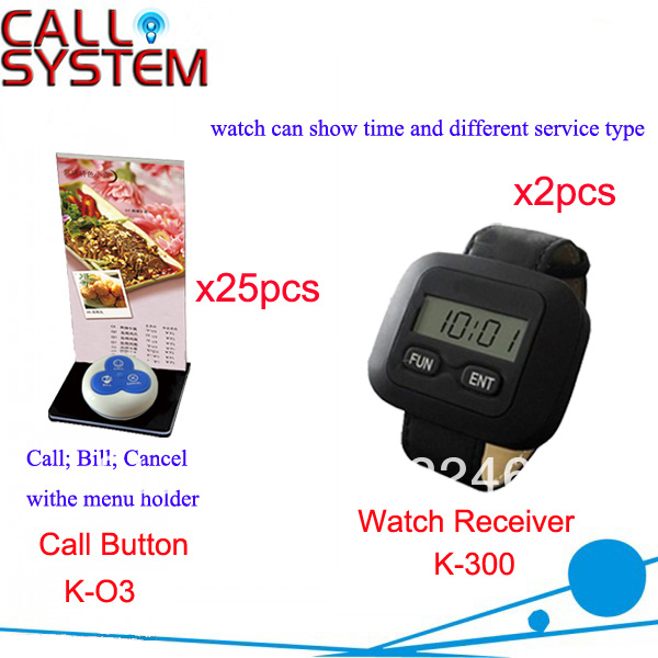 Wireless Call System for Restaurant 25pcs call button plus 2pcs alpha watch show time and 4-digit number Free Shipping(China (Mainland))