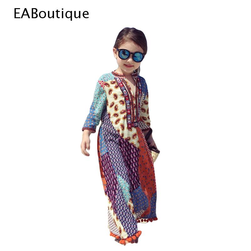 Kids 2016 Summer New Unique Fashion Thai Beach dress embroidery flower beautiful thailand girl dress retail BYM(China (Mainland))