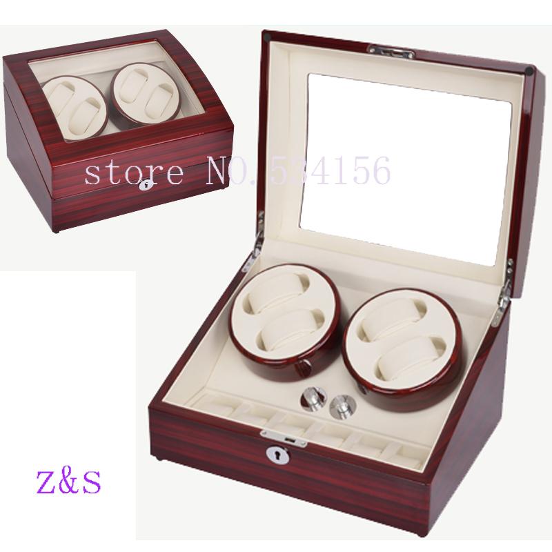 4+6 wooden watch winder with high gloss piano paint,automatic watch winder box watch case storage display jewelry box(China (Mainland))
