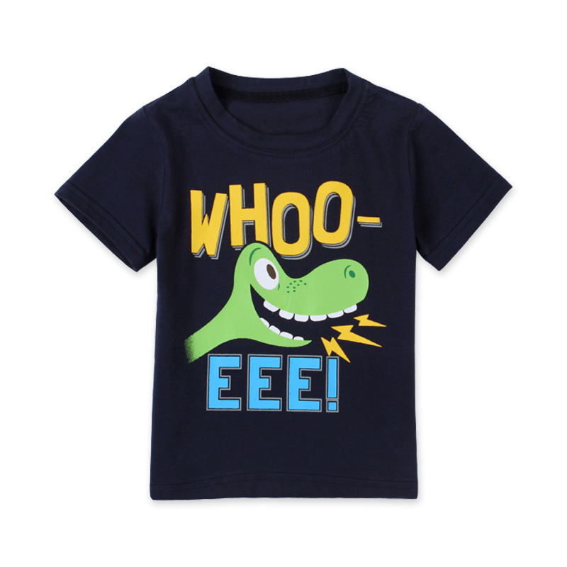 Q 2016 Summer Baby Girls Boys T-Shirt Vestido Cartoon Dinosaur Logo T-shirt Kids Clothes Short Sleeve Boys T-Shirt 2-7 Y Black(China (Mainland))