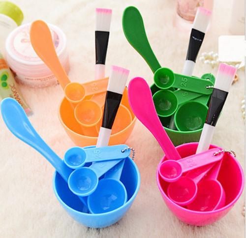 Homemade 6 In1 Makeup Beauty DIY Facial Face Mask Bowl Brush Spoon Stick Tool Set Blue Color(China (Mainland))