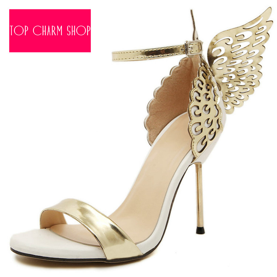 2015 Unique Design Angel Wing Sandals Women Wedding Pumps Gold Silver Strappy Sandals Sweet High