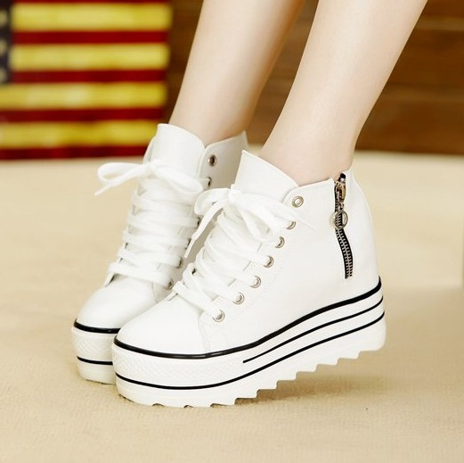 2014 Fashion Womens High Heeled Platform Sneakers Canvas Shoes Elevators White Black Top Casual Woman Zipper - Barbara children's shoe store