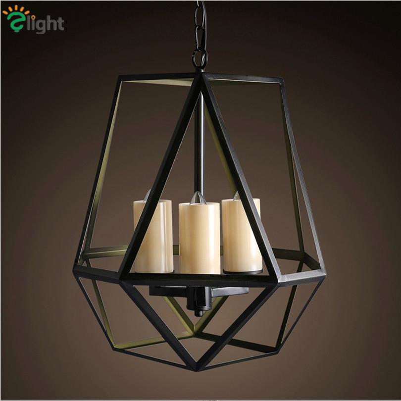 85 - 265V European Vintage Industrial 3 Head Iron Birdcage Led Pendant Light Geometric Candle Chain Hanging Light(China (Mainland))