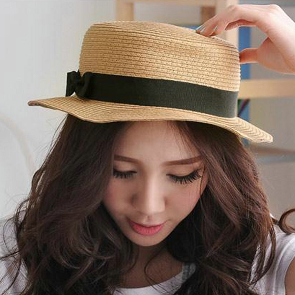 Foldable Flat Straw Sun Hats Summer Style Beach Hats For Women Female Summer Hats Floppy Hat 2015 New Fashion(China (Mainland))