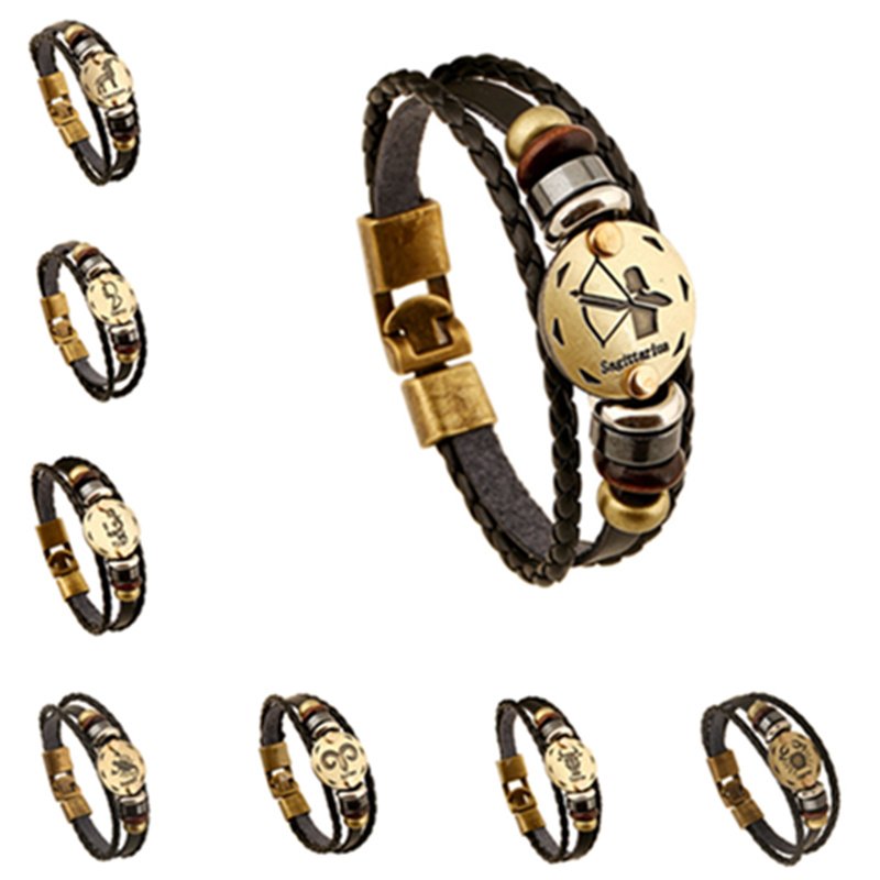 Wholesale Bronze Alloy Buckles Zodiac Signs Bracelet Men Jewelry Wooden Bead With Black Gallstone Charm Punk Leather Brcelet(China (Mainland))