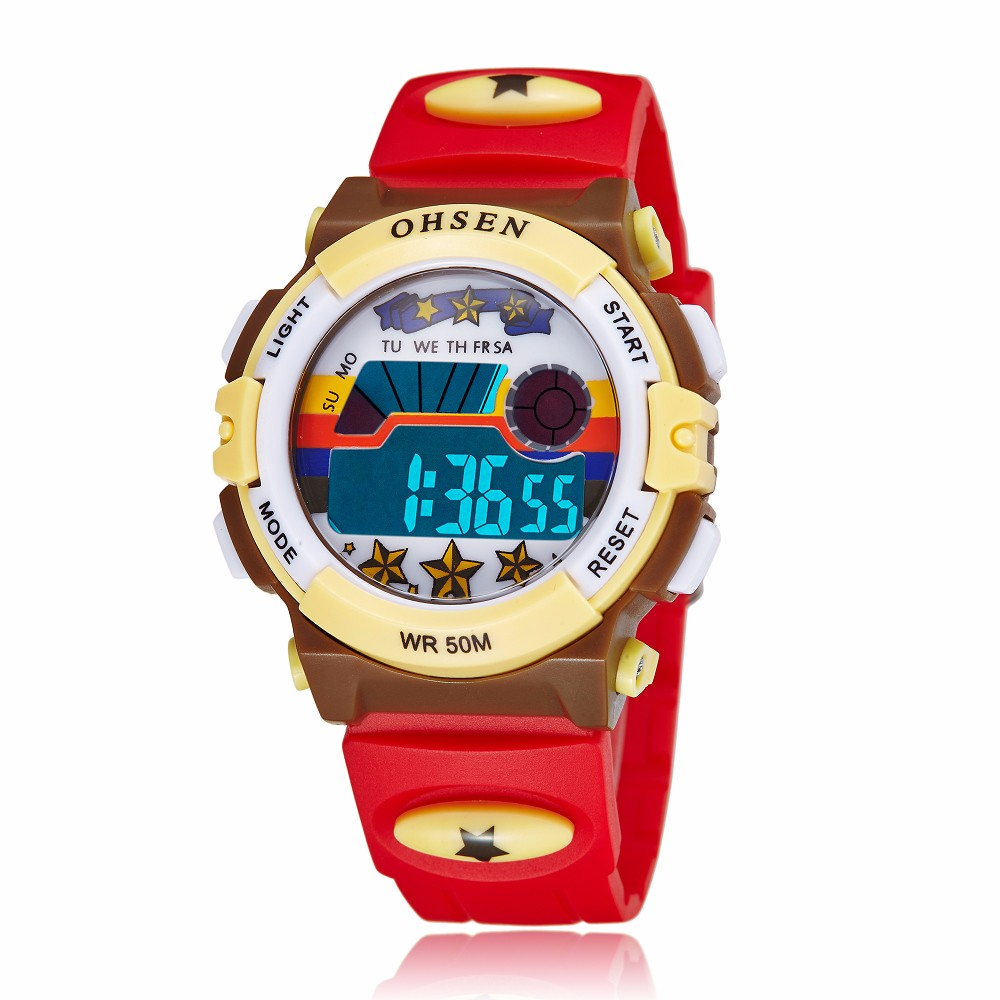 New Kids Watch Ohsen LED Multifunction Electronic Digital Boys Girl Sport 30M Waterproof Rubber Fashion Cartoon Wristwatches