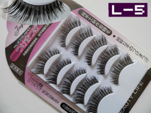 Free Shipping 5 Pairs Long Handmade  False Eyelashes Artificial Fake Eyelashes L-5 #(China (Mainland))