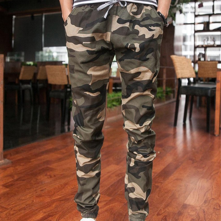 2015 New joggers men's camouflage trousers beam foot slacks elastic draw string military cargo mens pants(China (Mainland))