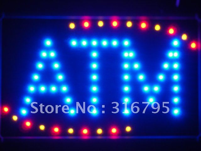 led027-b ATM Blue LED Neon Light Sign with Whiteboard<br><br>Aliexpress