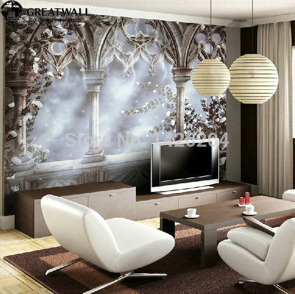 Great wall european retro 3d wallpaper murals flying snow for Home decor 3d wallpaper