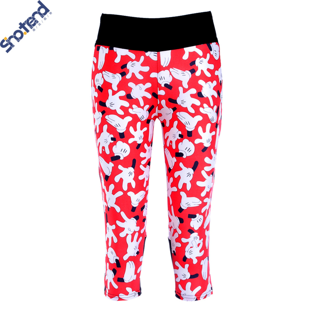 S.T Girl's Minnie Leggings 3/4 Capri Pants Outdoor Indoor Running Cycling Sports Compression Training Dance Leggings Pants(China (Mainland))