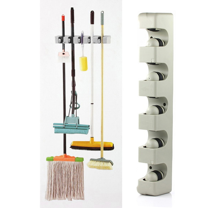 ABS Kitchen Wall Mounted Hanger 5 Position Kitchen Storage Mop Brush Broom Organizer Holder Tool(China (Mainland))