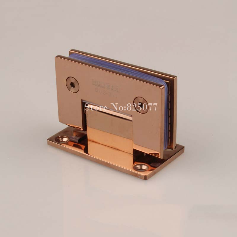 Free shipping High Quality Rose Gold 90 Degrees open Stainless Steel 304 Wall Mount Glass Shower Door Hinge HM153(China (Mainland))