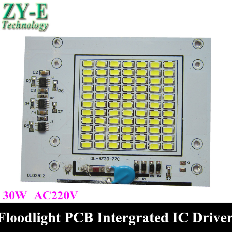 Floodlight aluminum plate 30W LED Flood light with SMD 5730+Intergrated IC driver AC180-260V NO NEED DRIVER Spotlight DIY by DHL(China (Mainland))