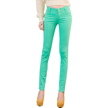 Fashion Womens Candy Colored Pencil Pants 20 Colors Cotton Spandex All Year Round Bodycon Long Trousers Jeans Female(China (Mainland))