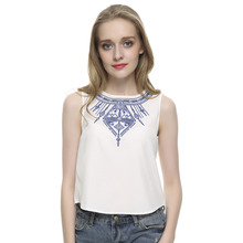 Women's Embroidery white crop tops casual blouses blusa feminina O neck sleeveless shirt slim top low price plus size WT07(China (Mainland))