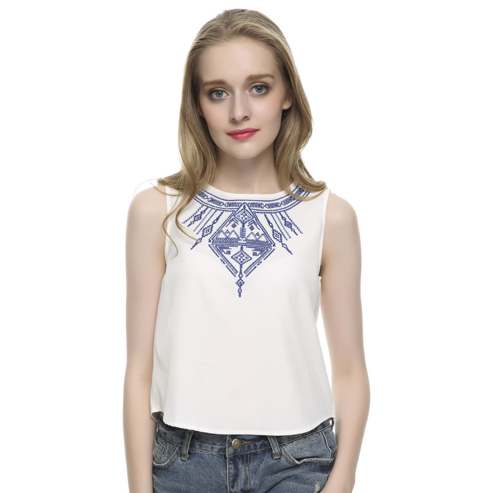 Women 39 S Embroidery White Crop Tops Casual Blouses Blusa
