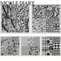 NICOLE DIARY Nail Art Stamping Image Plates Line Patterns Stainless Steel High Quality DIY Stamping Template 26245