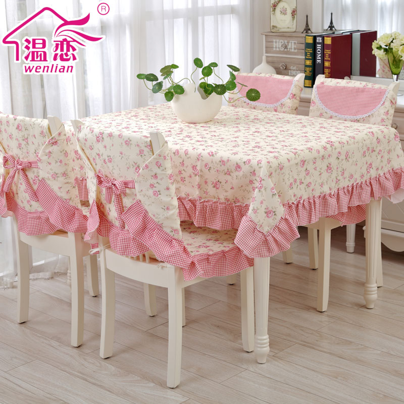 Rustic pink table cloth dining table chair cover cloth dining table cloth baimuer laciness tables and chairs set tablecloth(China (Mainland))