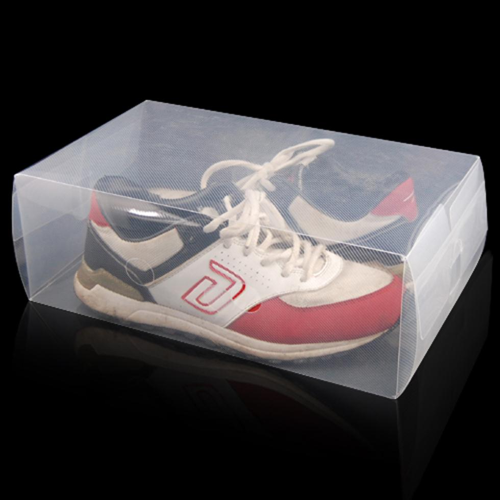 5 x Clear Plastic Mens Shoe Storage Boxes Containers Size 8 9 10 11 Gift(China (Mainland))