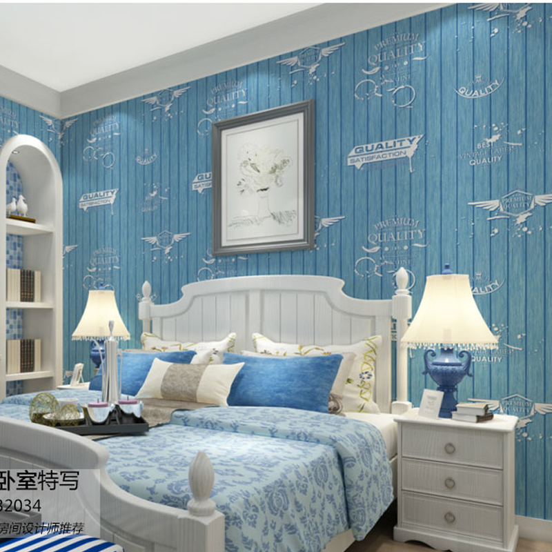 Online kaufen gro handel streifen tapete aus china for Plain blue wallpaper for walls