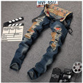 Famous Brand Jeans Men Light Blue Frazzle Holes Patchwork Denim Pants Male Slim Fit Ripped Trousers