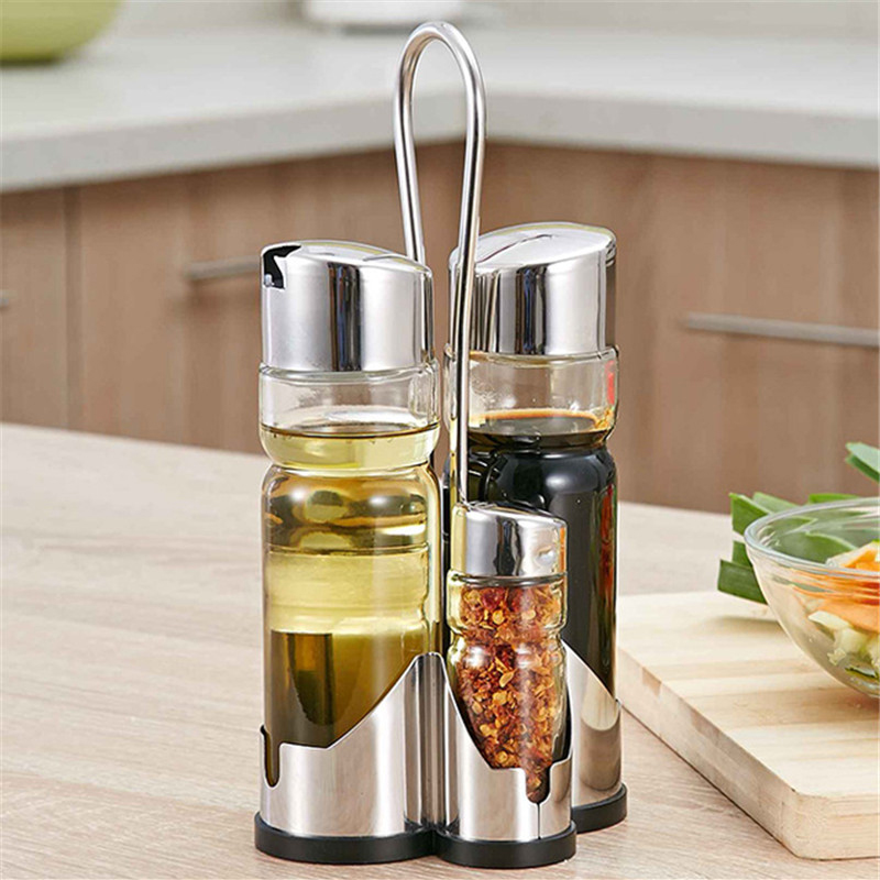 Stainless Steel Glass Condiment Spices Set Cruet Condimento Canister Sauce Bottle Seasoning Tools Free Shiping(China (Mainland))