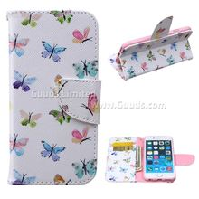 For iphone6 case Colored Butterflies Leather Wallet Case for iPhone 6 (4.7 inch) FREE SHIPPING