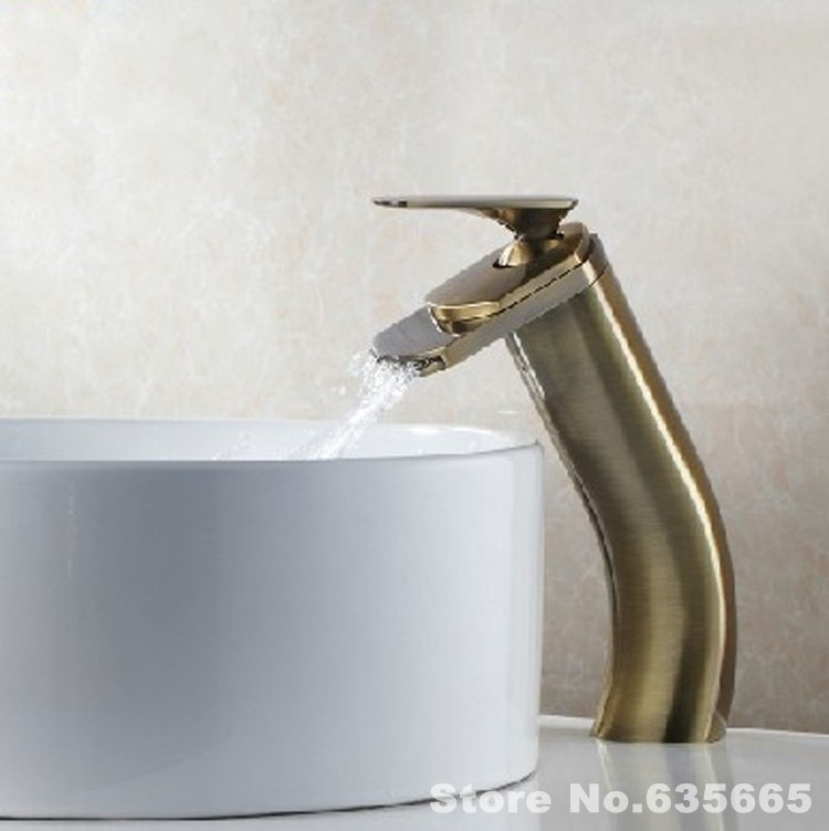 Luxury Antique Bathroom Waterfall Faucet Basin Lavatory Vessel Sink Vanity Top Tap Lavabo