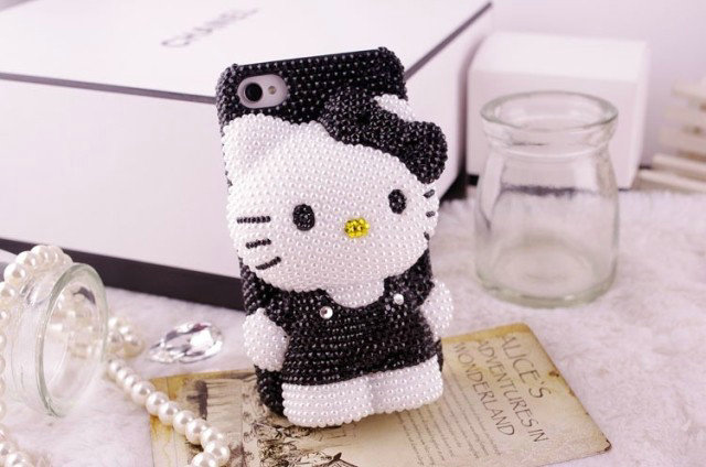 3D Bling Bling Crystal Pearl Black Hello Kitty Cabochon DIY Cell phone Case for iphone 6 plus case for samusng case(China (Mainland))