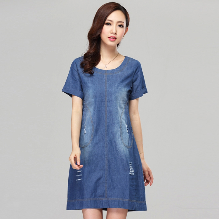 2015 Summer Plus Size Denim Dresses Vintage Short-Sleeve Casual Jeans Vestidos Women Work Wear - Brand Big Size(M-6xl store Women's Clothing)