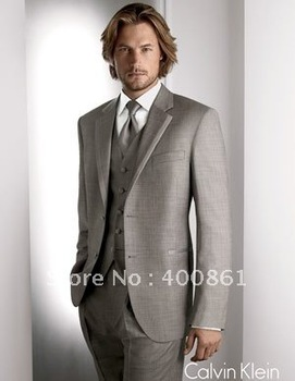 Two Button Grey Color Wedding Men's Dress Groom Suits Groom Tuxed