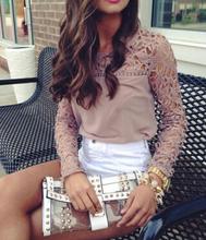 Brazil Style Lace Crochet Women Chiffon Blouse Long Sleeve Shirt Women Blusa Chiffon Nude Pink Roupas Blusas Femininas 5063(China (Mainland))