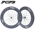 new FCFB Carbon Road Wheelset 700C Powerway R36 Carbon Wheels 88mm Clincher V shape clin steel