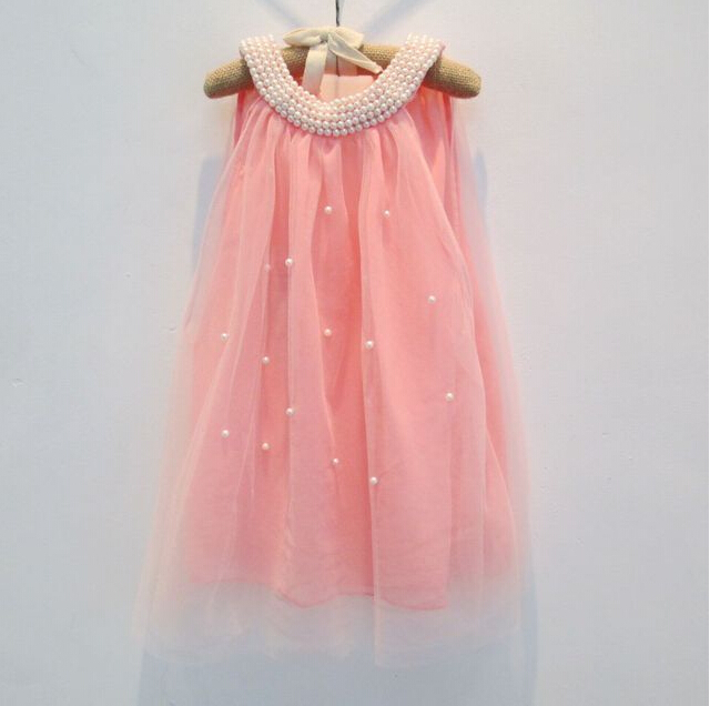 2016 baby girl fairy chiffon pearls collar beading dress with back bow, kids summer cute wear, 5 pieces/lot, free shipping