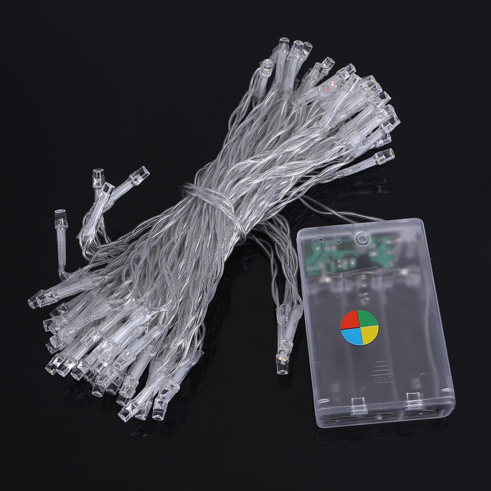 String Lights With Battery: 10M 80leds LED String Light 3XAA Battery Operated Portable