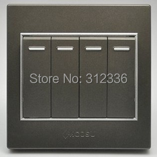 free shipping wall switch four on double control wall switch coffee color(China (Mainland))