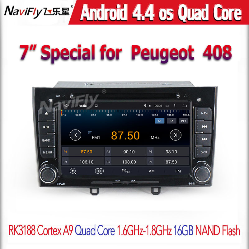 free shipping Peugeot 308 408 HD 1024*600 7 Quad Core Android 4.4 Car DVD with 3G WIFI Radio GPS Navigation RK3188 +8g map<br><br>Aliexpress