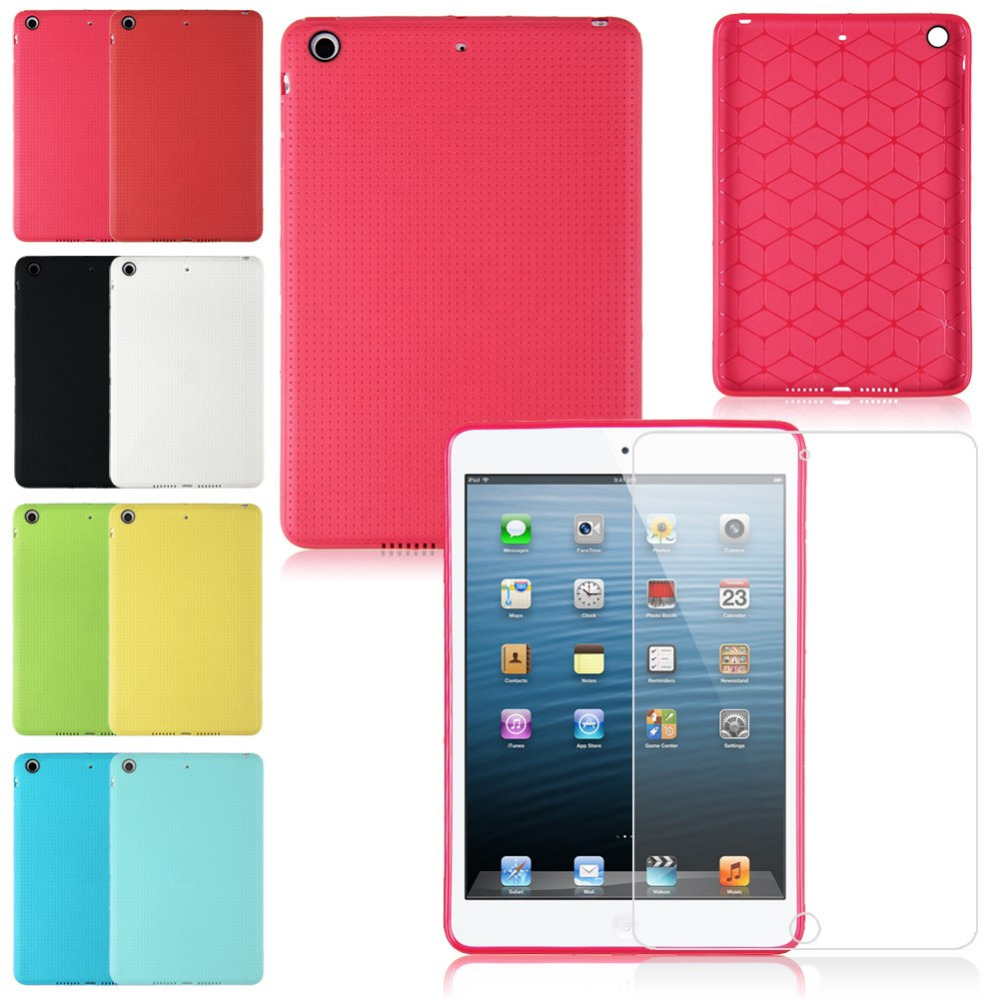 8 Colors Silicone Gel Rubber TPU Skin Case Cover For iPad Mini + FREE Screen Protector Film(China (Mainland))
