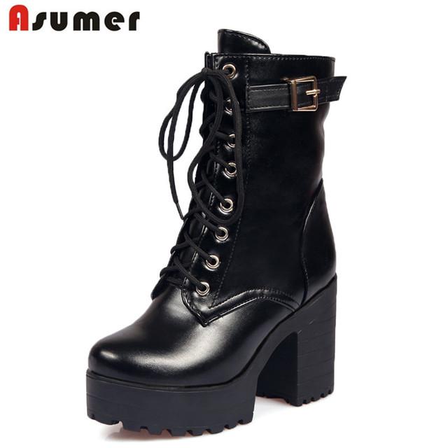 Большой размер 34 - 45 толстые высокие каблуки платформы ботильоны 2015 новые ботинки ...