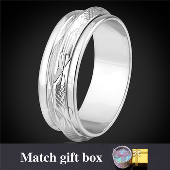 Platinum Plated Rings For Men 6MM Wholesale 2 Layer Rotatable Circle Silver Color Ring Men's Jewelry With Gift Box R106