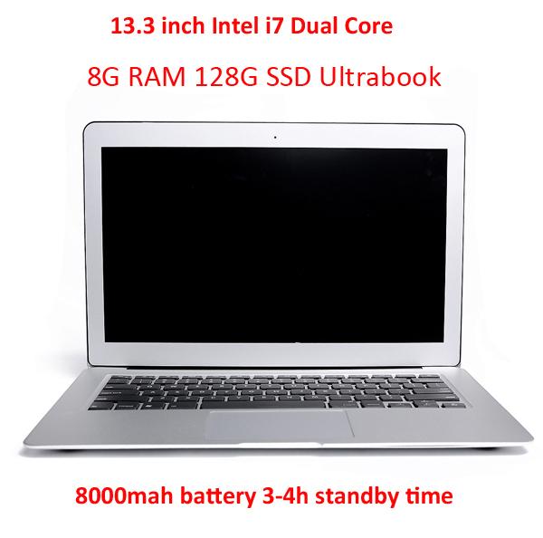 "Intel Core i7 Dual Core Laptop Computer 8G RAM 128G SSD Windows7/8 HDMI Webcam,8000mah Battery Portable Notebook 13.3"" Netbook(Hong Kong)"