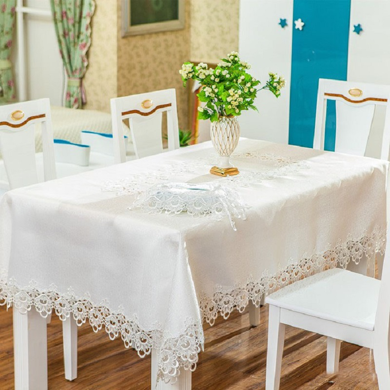 Wedding table cloth Embroidered tablecloth White Oilproof tablecloths 180*180cm table cover for Home Banquet manteles para mesa(China (Mainland))