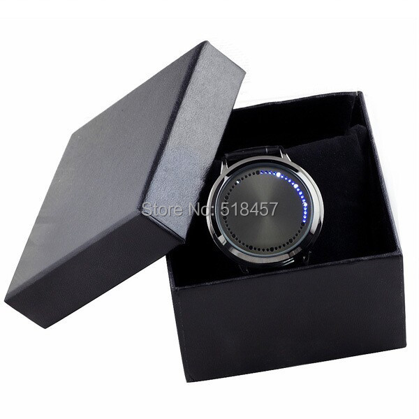 Free Shipping Cool Black Band LED Light Men Luxury Hours Dispaly Wrist Watch